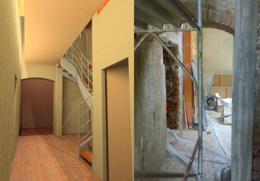 Progetto e cantiere dei corridoio e della scala